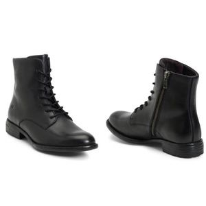 Born Tombeau Black Leather Lace-Up Boots